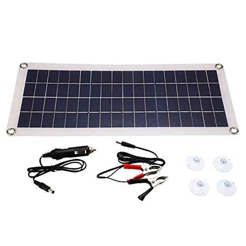 WFEI Panel Solar Portátil De 50W USB 5V Doble USB Power Bank Batería De La Batería Externa Tablero De Células Solares para Casas, RV, Barco