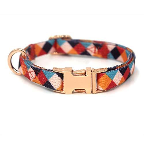Rhea Rose Hundehalsband mit Metallschnalle, D-Ring, verstellbar, für kleine, mittelgroße und große Hunde (XS (Halsumfang 20,8 cm - 29 cm, Breite 0,9 cm), mehrfarbig)