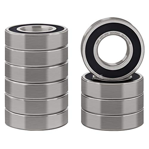 XiKe 10 Pcs 6207-2RS Double Rubber Seal Bearings 35x72x17mm, Pre-Lubricated and Stable Performance and Cost Effective, Deep Groove Ball Bearings.