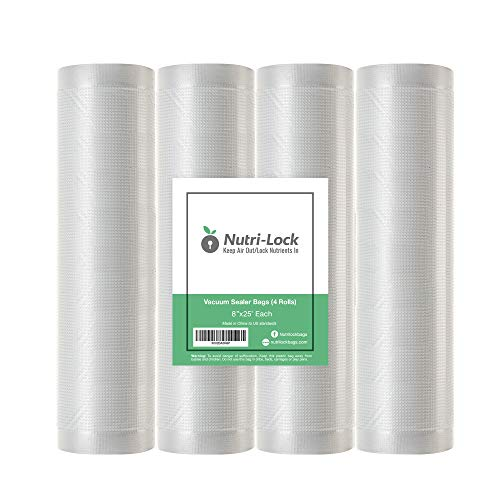 Find Cheap Nutri-Lock Vacuum Sealer Bags. 4 Rolls 8x25' Commercial Grade Bag Rolls. Works with Food...