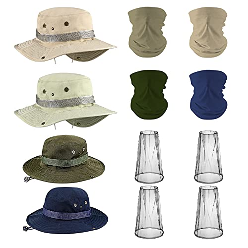 another 12 pcs Boonie hat Set 4 Fishing Hats Navywith 4 Net Caps 4 Neck Gaiters for Summer (4, Khaki .Army Green. Light Grey Navy)