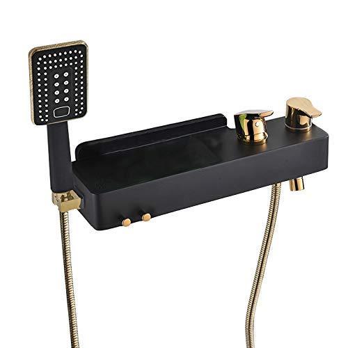 SSYS Grifo de latón Macizo montado en la Pared para bañera con Estante y 2 configuraciones de función Juego de Ducha de Mano, Relleno de Pared para baño Grifo de bañera con Doble manija, Dorado