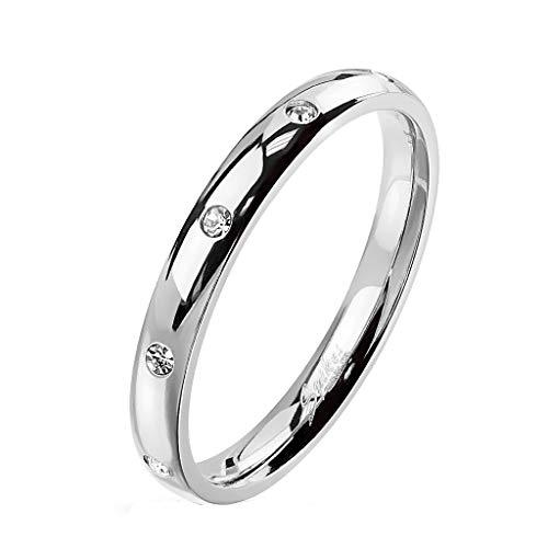 Paula & Fritz® Damen-Ring glänzend 3mm Zirkonia Silber Gelb-Gold Rosé-Gold Bunt Freundschafts-Ring Partner-Ring Edelstahl 316L R-M6822S_90