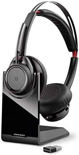 Plantronics Bluetooth-Stereo-Headset 'Voyager Focus UC B825M' mit Ladeschale & USB-A BT-Dongle, Smart Sensoren, Mikrofonarm, Rauschunterdrückung, Skype for Business, Schwarz