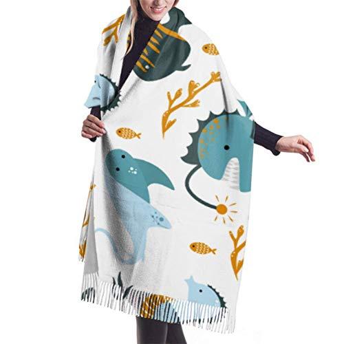 An Green Unisex Winter Schal, Stingray Seepferdchen Fisch lange große warme Schals Wrap Schal gestohlen