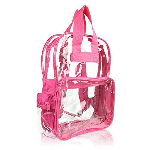 DALIX Kleiner Rucksack, transparent, Schwarz, Lila, Königsblau, Pink, Gold, Grau, Grün, Rot, Blaugrün Gr. S, hot pink