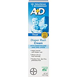 A+D Diaper Rash Cream, Dimethicone Zinc Oxide Cream, 4 oz (113 g) (Pack of 12 (4 oz each))
