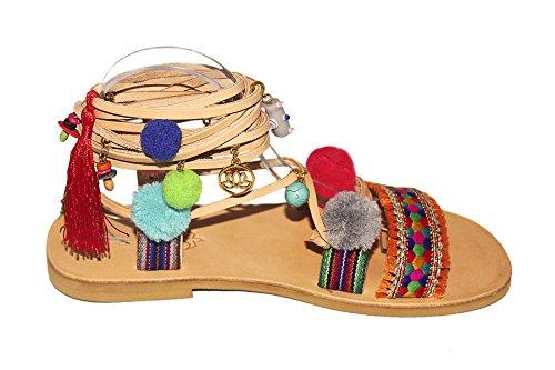 Pom Pom Sandalias de Cuero Hecho a Mano Sandalias Planas Tipo Gladiador con Piedras y Adornos - Mardi Gras (39 EU)