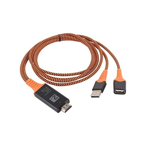 Cable Adaptador Macho USB Hembra a HDMI con Cable de Nailon Trenzado de tamaño portátil Naranja