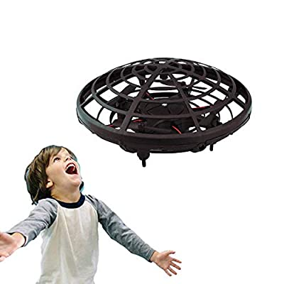 WALLE UFO Mini Drone Hand Controlled Ball for Kids Flying Toys with LED Lights Gifts for Boys Girls Beginner (Black)