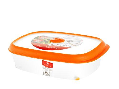 Home Récipient rectangulaire, 1 Litre, Plastique, Orange/Transparent