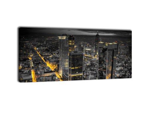 wandmotiv24 Leinwandbild Panorama Nr. 247 Frankfurt bei Nacht 100x40cm, Keilrahmenbild, Bild auf Leinwand, Nacht Skyline Hochhäuser