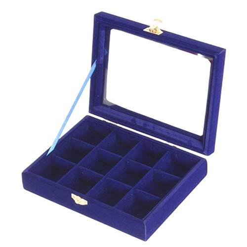 zhppac Accesorios de joyería Cajas y organizadores de Joyas DaWanda Joyas y bisutería de Vidrio bisutería con Cajas Bastante Cajas de Almacenamiento Blue