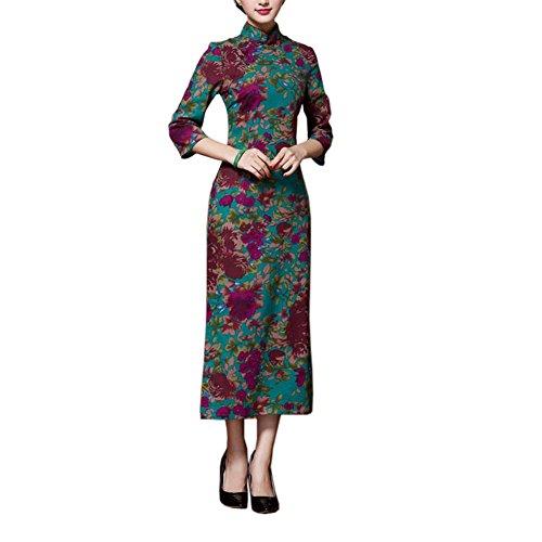 Black Temptation Vintage Elegante Vestido Cheongsam Largo Qipao Vestidos de Fiesta para Las Mujeres, 06