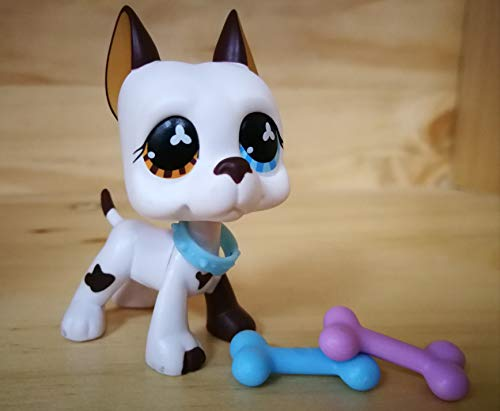 LPSOLD Old LPS Great Dane 577 White and Brown Different Eyes Dog Puppy Pet with Magnet Clear Peg with Accessories Toys Figure Collection Rare Girl Boy Gift (lps Great dane 577)