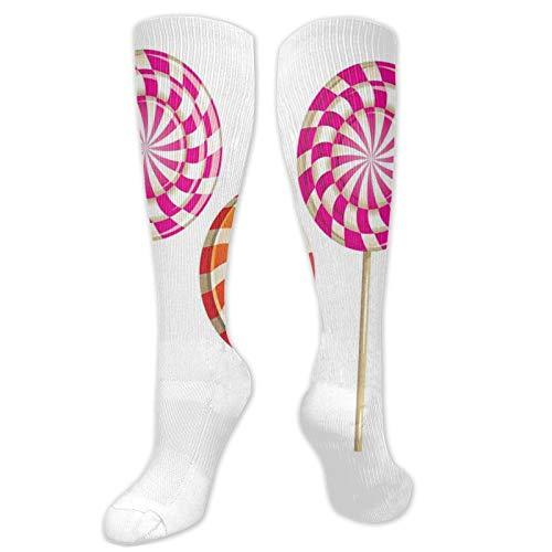 Calzini da calcio, realistici zuccherati su bastoni a spirale rotondi Lolly Pops, deliziosi gustosi spuntini, da donna, divertenti calzini da donna in cotone