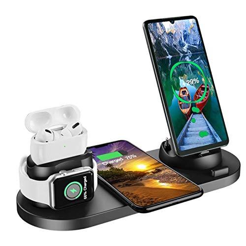 6-in-1 Qi ワイヤレス充電スタンド USBポート付き スタンド 置くだけ充電 Android/Micro USB iphoneコネクタ/USB Type-C iPhone/Apple Watch/Airpods 充電器 Qi 10W急速充電対応 Galaxy/Sony/Huawei/10W対応 その他Qi対応機種も適用