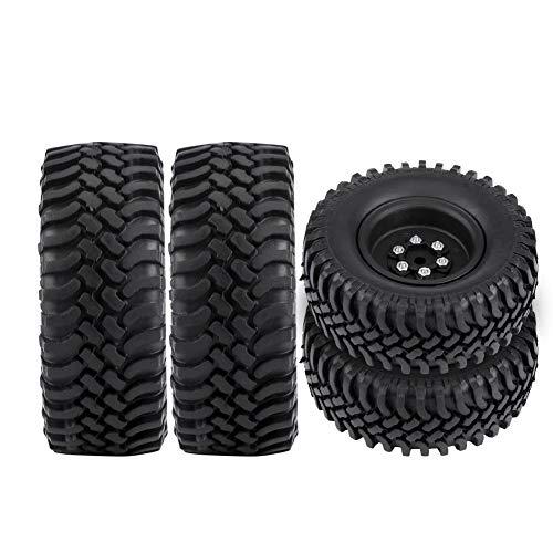 Dilwe Neumático de Rueda RC, 4 Piezas de neumáticos de Rueda de Goma y Metal, Pieza Mejorada Adecuada para Coche de camión de orugas RC 1:10