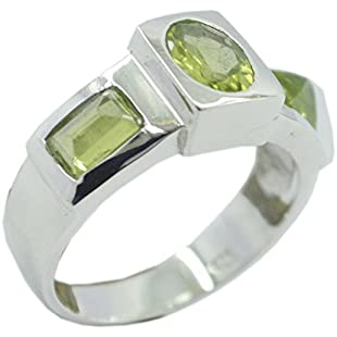Jewelryonclick Peridot Sterling Silver Engagement Rings for Her 3-Stone-Setting Jewelry Gift in Size Q:Greatestmixtapes