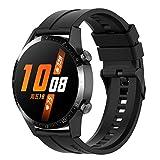 Braleto Correa Compatible con Huawei Watch GT 2/ Samsung Galaxy Watch 46 mm/Gear S3/Gear 2 R380/Gear 2 Neo R381,Pulsera de Silicona de 22 mm, 9 colores (Negro)
