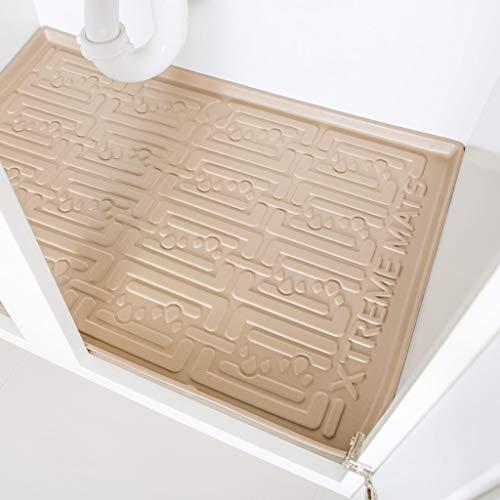 "Xtreme Mats Under Sink Bathroom Cabinet Mat, Pick Your Size, 34"" x 19"", Waterproof Cabinet Protector Liner, CMV-36-BEIGE"