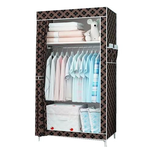 Laogg Armario simple a prueba de polvo, armario de lona individual con barra para colgar armario plegable para sala de estar, dormitorio