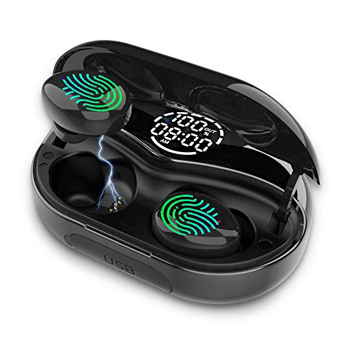 Auriculares Bluetooth 130H Pantalla Digital con Auriculares Inalambricos con Control Táctil, Bluetooth 5.0 Hi-Fi Estéreo In-Ear Auricular Audifonos IPX8 Resistente al Agua, 3500mAh para Deporte