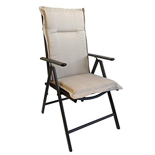 Multistore 2002 Elegante Gartenstuhlauflage Stuhlauflage Polsterauflage Hochlehner Beige 120x45cm - 5cm dick Sitzauflage Sitzpolsterauflage Sitzkissenpolster