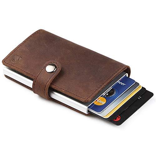 Dlife Credit Card Holder RFID Blocking Wallet Slim Wallet PU Leather Vintage Aluminum Business Card Holder Automatic Pop-up Card Case Wallet Security Travel Wallet (Dark Brown)