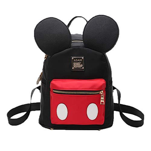 Pteng Mochila Mouse Bolso Mochila Mujer Bolsos Escolar Bolsa de Nylon Elegante Backpack studentesca la Escuela Media eleganti Originales Daypack (Negro)