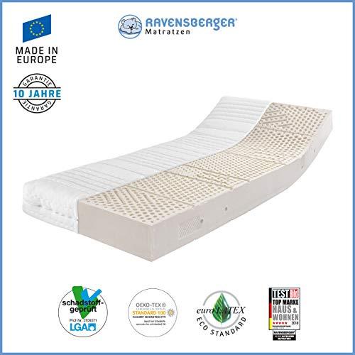 Ravensberger Matratzen® Natur Latexmatratze LATEXCO | 7-Zonen Komfort- Matratze aus Latex H3 RG 65 (80-120 kg) | Made IN Europe - 10 Jahre Garantie | Bezug MEDICORE silverline® 140 x 220 cm