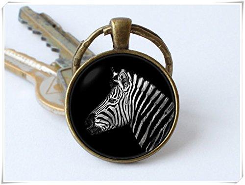 yi sheng Zebra Key Chain, Keyring, Pendant, Jewelry, Safari Animals Animal Key Chain, Zebra Head Keyring.