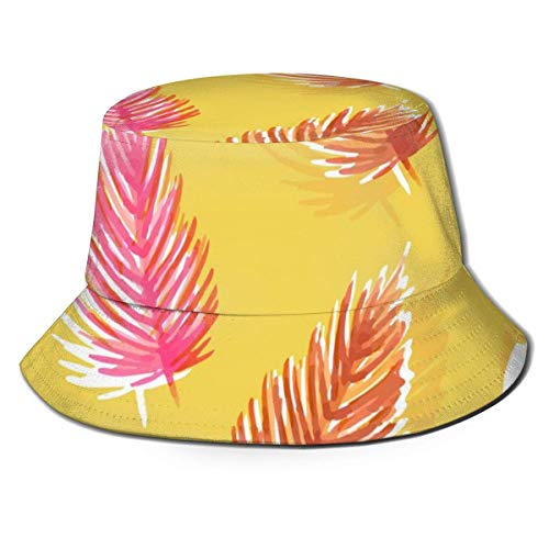 Henry Anthony Eimer Hut Gelbe Palmen Blätter, Monstrea, Exotische Pflanzen Womens Fishing Hats Fischerhut für Teen Men Beach