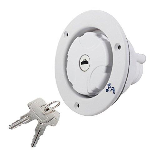 D DOLITY Runde Kunststoff Wassertankdeckel mit Schlüssel für Wohnmobil Wohnwagen - Weiß