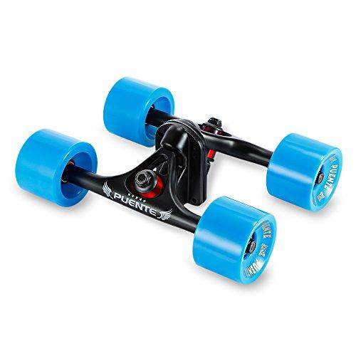Paquete de 2ejes de monopatín con ruedas, para monopatines tipo cruising o longboard, azul