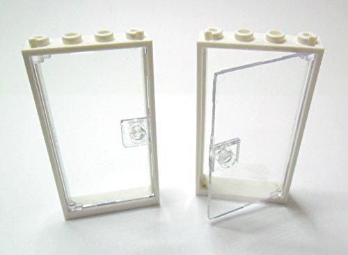 LEGO Bricks Rahmen mit Tür, 2Stück, 1x4x6, Weiß / transparent