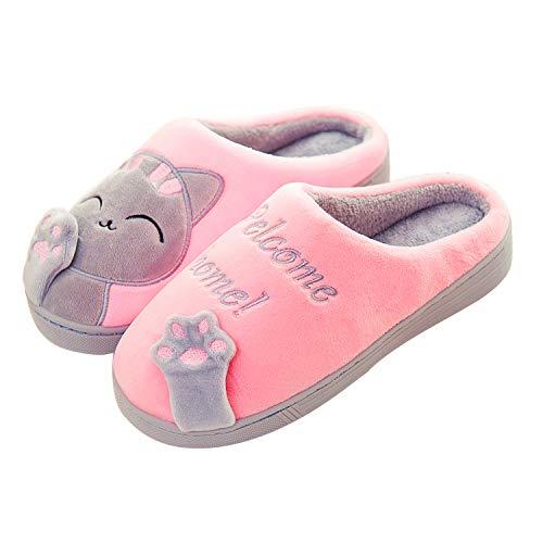 KISCHERS, zapatillas, mujer, zapatos de felpa cálidos y suaves, gato rosa, 40/41 EU