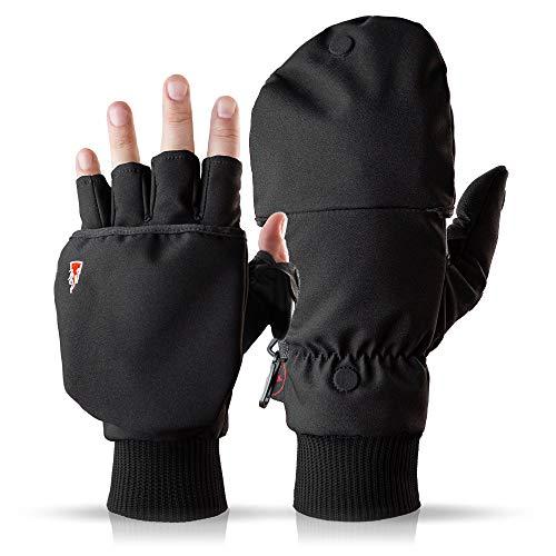 Heat 2 Fingerlose Touchscreen Handschuhe und Fäustlinge Kombination, warme Winterhandschuhe gegen den Wind und Kälte im Winter – Sporthandschuhe, Fahrradhandschuhe Damen, Herren – Schwarz, 7, Small
