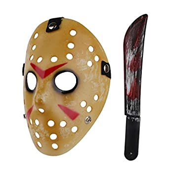 Halloween Costume Scary Horror Jason Mask with Machete for Adults  Style-1
