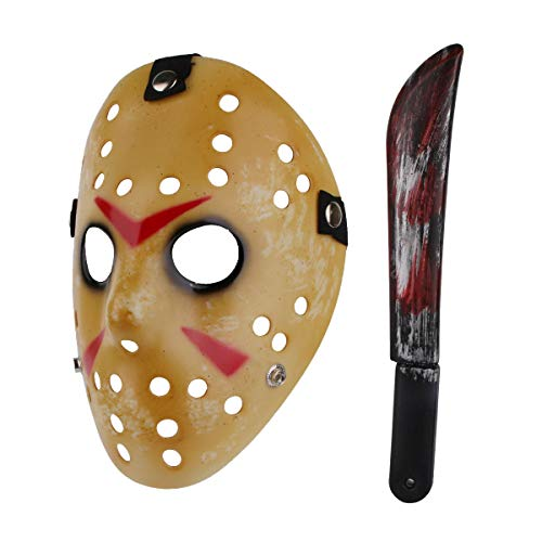 Halloween Costume Scary Horror Jason Mask with Machete for Adults (Style-1)