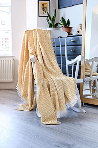 Large Natural Cotton Knitted Throw Blanket For Sofa Settee Couch Armchair Bed Farmhouse And Home Decor I Bedspread 170 x 200 cm (Mustard)