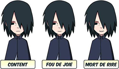 T-Shirt Noir Naruto parodique Sasuke Uchiwa : Toujours Aussi expressif. (Parodie Naruto)