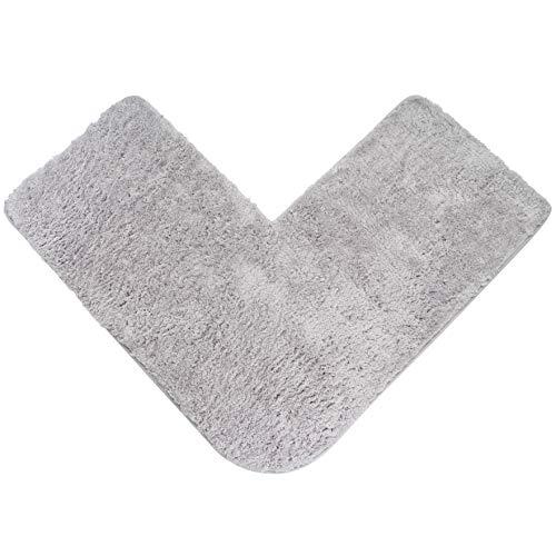 Badteppich für Eckduschen, Hochflor aus Mikrofaser, rutschfeste Unterseite (Hellgrau)