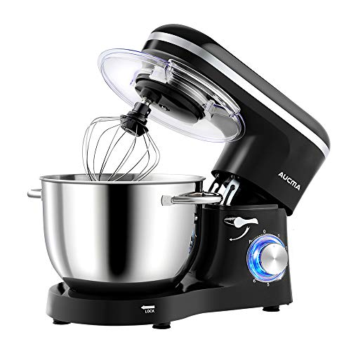Aucma Stand Mixer, 1400W 6.2L Food Mixer Electric Kitchen Mixer with Dough Hook, Wire Whip & Beater (Black, 6.2L)