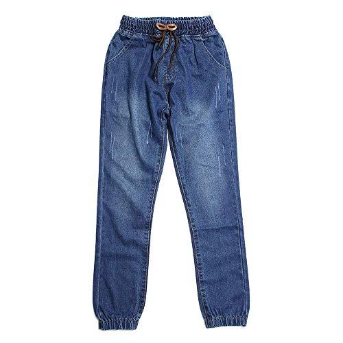 BoBoLily Pantalones De Denim De Los Pantalones Harén De Hombres Pantalones Unique Stlie De Vestir Sueltos De La Moda Vintage Pantalones De Mezclilla con Cintura Elástica con Cintura Elástica