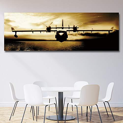 No frame Moderne Abstracte Vliegtuigen Lange Canvas Schilderij Foto Poster En Prints Voor Woonkamer Woondecoratie Wall Art 60x180cm
