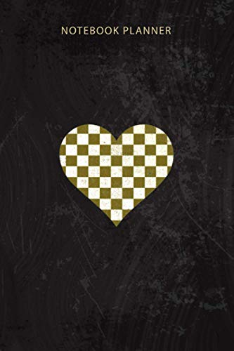 Notebook Planner Checkered love heart black and white plaid distressed: Over 100 Pages, Work List, Homework, Appointment, Tax, Goal, Pretty, 6x9 inch