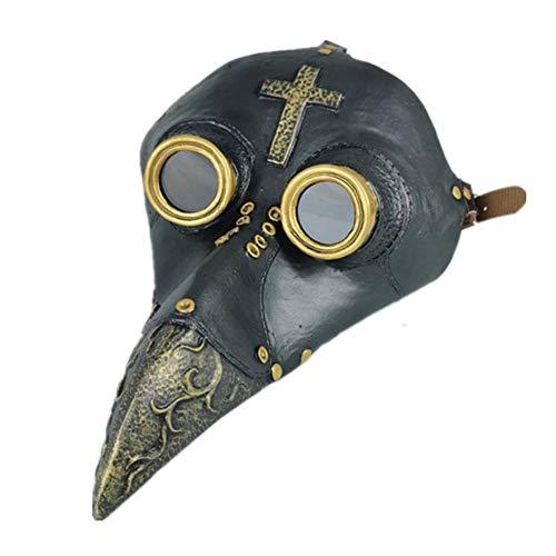 Neckip Pestdoktor Maske - Pestmaske - Schnabelmaske - Plague Doctor Mask - Doktor Arzt Kopfmaske Steampunk Kostüm Zubehör für Erwachsene Kinder Halloween Weihnachten Party Fasching Karneval