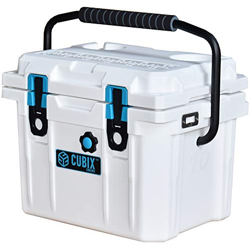 Cubix Marine Cooler | 10 Quart White Lifetime Rotomolded Ice Cooler | Portable and Hard Lunch Box | Perfect for Fishing and Beach