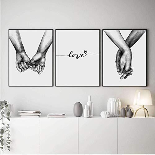 Nordic Hold Hands Leinwand Poster Minimalistischen Malerei Auf Leinwand Living Schwarz Und Weiß Leinwanddrucke Liebe Wandbilder Für Wohnzimmer 50X70 Cmx3 Rahmenlose
